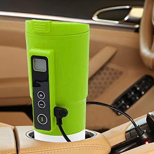 Mirabellinifred Taza eléctrica para coche – Hervidor de agua eléctrico portátil con pantalla LCD, control de temperatura, viaje, café, taza eléctrica para café, té, leche