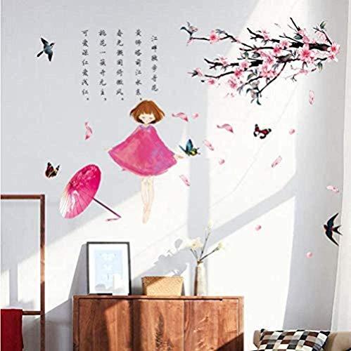 Zawagu - Adesivi da parete per parete, per regalo di casa, in stile cinese, antico, poesia, prugna, studio, soggiorno, camera da letto, porta rimovibile, adesivo