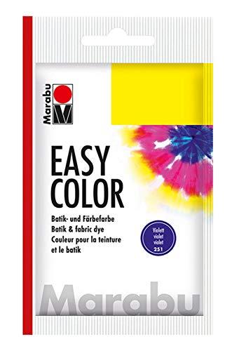 Marabu 17350022251 - Easy Color violett, Batik- und Handfärbefarbe für Baumwolle, Leinen, Seide und Mischgewebe, handwaschbar bis 30°C, sehr gute Lichtechtheit, nicht kochecht, 25 g