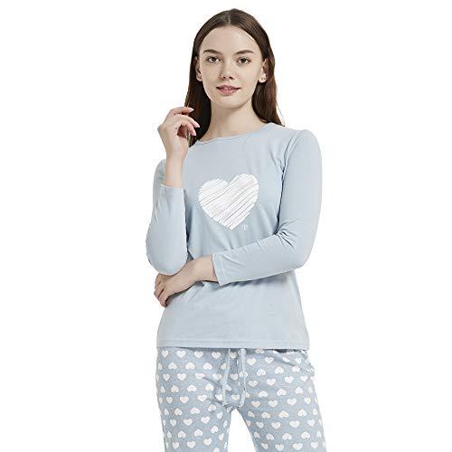 PimpamTex - Pigiama da donna e ragazza in cotone, set con pigiama invernale e autunnale, morbido, in due pezzi Noruega blu Small/X-Large