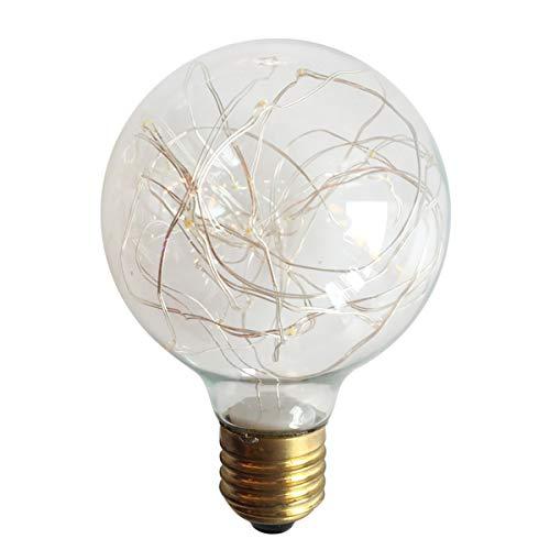 Creative Vintage Light, E27 Edison LED Filament Bulb, 5W Wire Light Glass Ball Bulb Fairy Lights Halloween Lights,Christmas Lights, Led Lights Decoration,Yellow,A