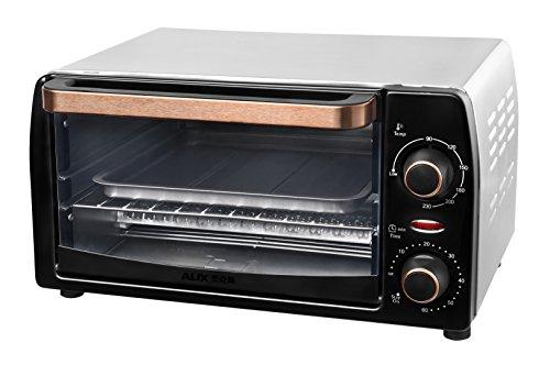 Team Kalorik 9 l mini-oven met bakplaat en grillrooster (90-230 °C), 1050 W, metaal/glas, zwart/koper, TKG OT 1025 CO