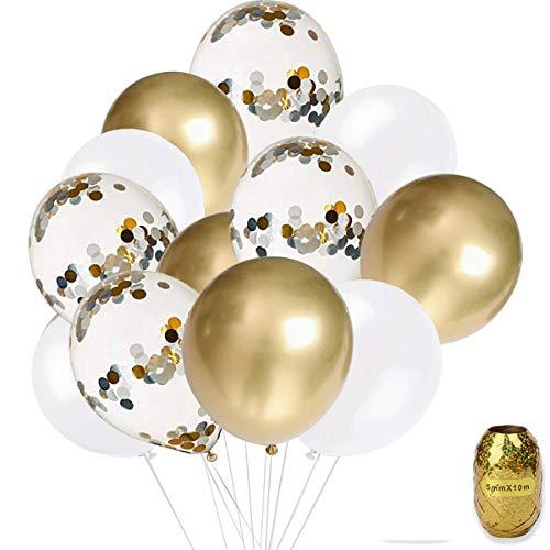 Erosion Gold, Konfetti und weiße Luftballons - Packung mit 50, ideal für Hochzeiten Geburtstage Brautdusche Dekorationen Abschlussfeier Dekorationen liefert 3 Stil, 12 Zoll