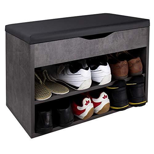 RICOO WM032-BG-A Banco Zapatero 60x42x30cm Armario Interior con Asiento Organizador Zapatos Mueble recibidor Perchero Madera Gris Cemento