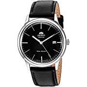 Orient Men's 2nd Gen. Bambino Ver. 3 Stainless Steel Japanese-Automatic Watch with Leather Calfskin Strap, Black, 21 (Model: FAC0000DB0)