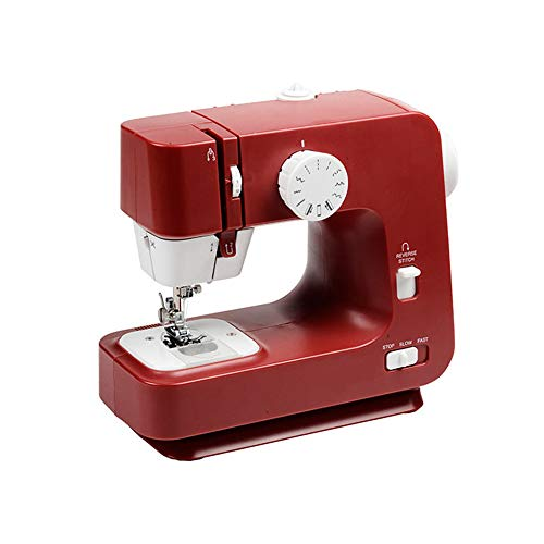 Kacsoo Máquina de coser 220V, máquina de coser doméstica de 12 puntadas, control de velocidad de 2 velocidades, máquina de coser overlock eléctrica, pequeña herramienta de coser doméstica