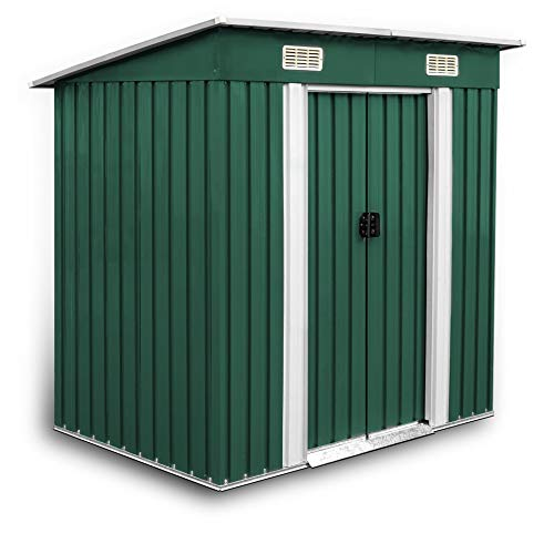 Estexo GGS Gerätehaus Metall verzinkt grün, mit Pultdach 190 x 121 x 180 cm