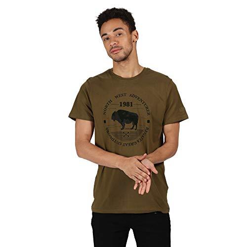 Regatta T- Shirt 100% Coton Organique écologique Cline IV avec imprimé Design Polos/Vests Homme, Camo Green, FR : 3XL (Taille Fabricant : XXXL)