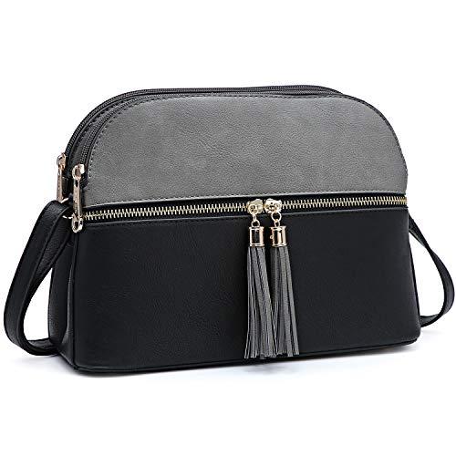 Dasein Women Tassel Zipper Pocket Crossbody Bag Shoulder Purse Fashion Travel Bag with Multi Pockets(1-Black/Grey)