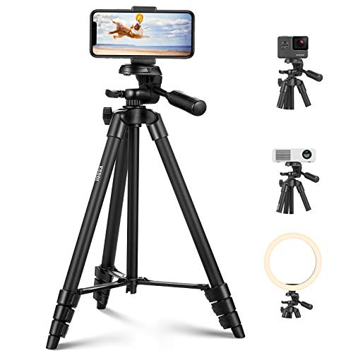 Tripod for Phone and Camera 55inch/140cm Ultra-Portable Travel Tripod for Cellphone, with Universal Phone Mount and 1/4 Quick Release Plate Compatible with iOS and Android Phone