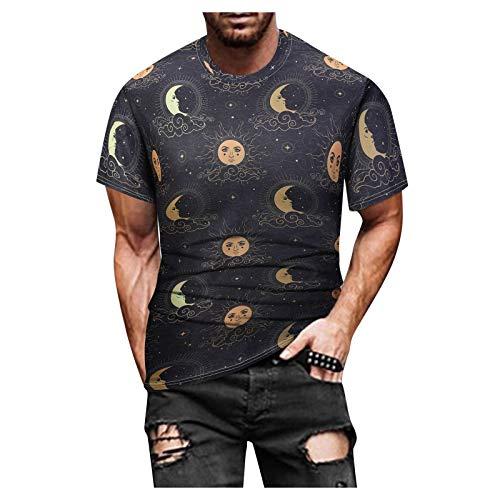 Camiseta para Hombre Manga Corta Primavera Verano Estilo éTnico Multicolor Luna Sol Short-Sleeve Men's T Shirts Puro AlgodóN Chaleco para Hombres De Moda Tops De Hombre