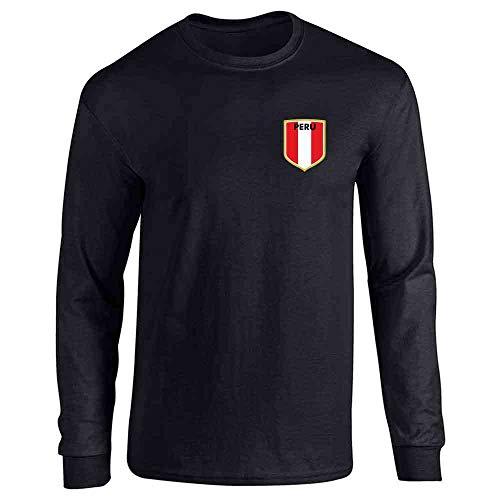 Peru Soccer Retro National Team Halloween Costume Black L Full Long Sleeve Tee T-Shirt