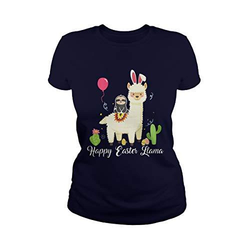 TeeWarrior Happy Easter Llama Perezoso Día de Pascua Disfraz Huevos Regalo Camiseta