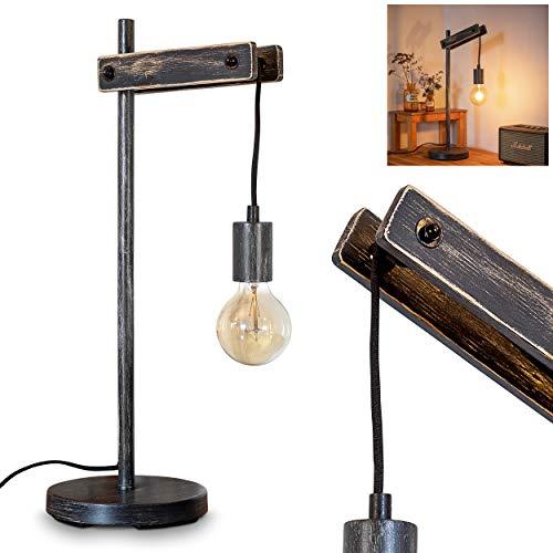 Lámpara de mesa Aarhus de madera, cuerda y metal negro, lámpara de escritorio retro con interruptor en el cable, para 1 bombilla E27 máx. 60 W, compatible con bombillas LED