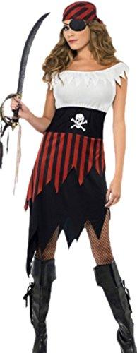 erdbeerloft - Damen Piratenkostüm, Piratenbraut, Karneval, Fasching, Halloween, 36, Schwarz