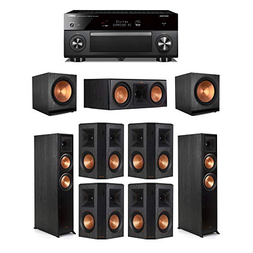 Find Discount Klipsch7.2 Ebony System - 2 RP-6000F,1 RP-600C,4 RP-502S,2 SPL-150,1 RX-A3080 Receiv...