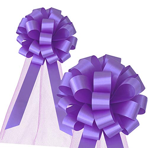 Lavender Wedding Pull Bows with Tulle Tails - 8' Wide, Set of 6, Easter, Holiday Decor, Garland, Baby Shower, Birthday, Wreath, Gift Bow, Spring, School Dance, Fundraiser, Mother's Day