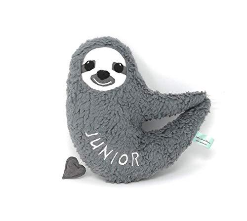 Personalisierte Baby Spieluhr Faultier zum Aufhängen mit Namen und Melodie zum Wählen. 20 cm groß, Öko Teddy Plüsch, grau. Optional mit Reißverschluss zum Austauschen von Spieluhr