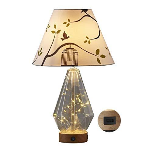 Lampara Mesilla Lámpara de mesa USB caliente romántico dormitorio lámpara de mesa moderna creativa Arriba y Abajo Fuente de luz lámpara de mesa de cristal transparente de la lámpara del cuerpo Salón D