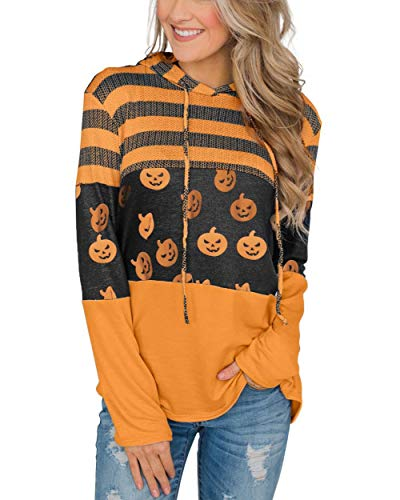 Lylinan Womens Halloween Pumpkin Hoodies Long Sleeve Stripe Tunic Sweatshirt Pullover Blouse Top,L Orange