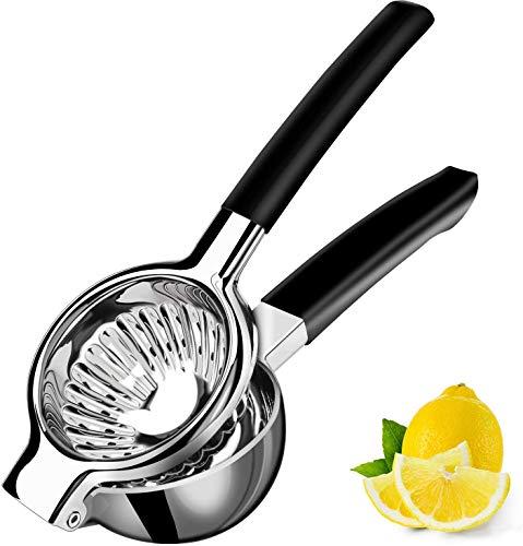 Exprimidor Manual Grande de Limón de Acero Inoxidable, Exprimidor de Metal de Color Naranja Resistente con Mango de Silicona, Exprimidor de Limón