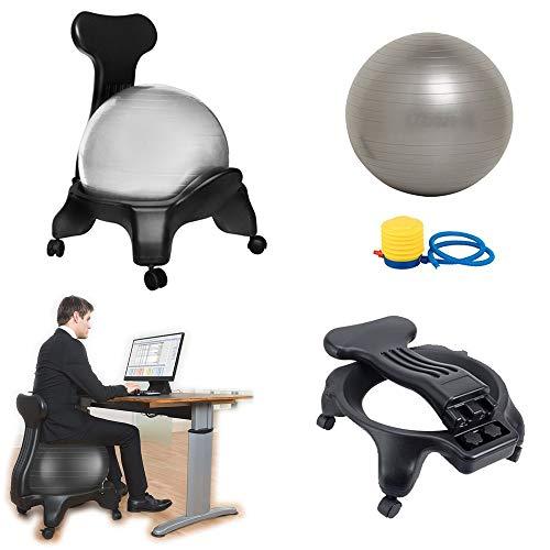 BODODO Ballstuhl/Fitness Ball Stuhl/Balance Ballstuhl/Yoga Ball Premium Ergonomischer Stuhl, mit Rollen Robuster Sitzball, mit Yoga-Ball, für Zuhause und Büro Schreibtisch