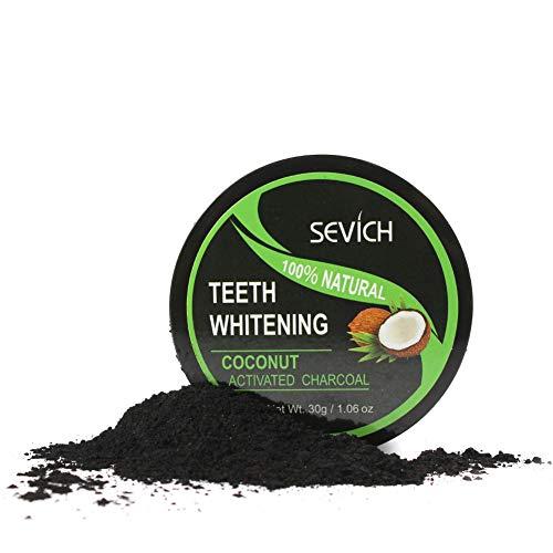 Black Charcoal Pearl Teeth Whitening Powder, Organic Coconut Charcoal, Freshens Breath, SEVICH Tooth Powder, 30g