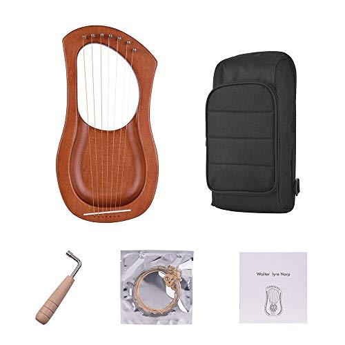 ABMBERTK 7-saitige Holz-Lyra-Harfe, Metallsaiten Birke Massivholz-Saiteninstrument, mit Tragetasche, WH04