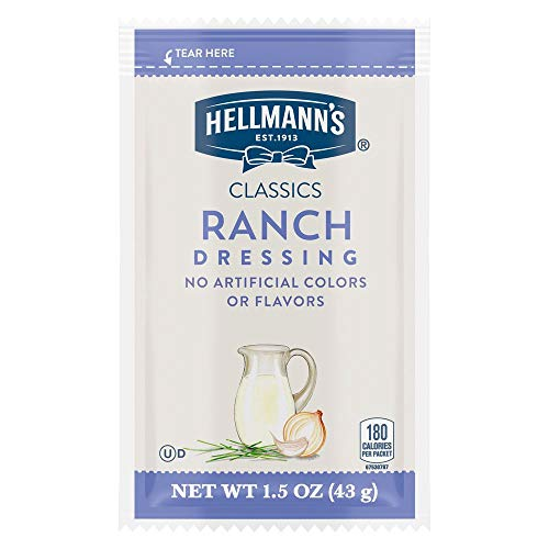Hellmann's Classics Ranch Salad Dressing Portion Control Sachets Gluten Free, No Artificial Flavors, Colors, added MSG or High Fructose Corn Syrup, 1.5 oz, Pack of 102