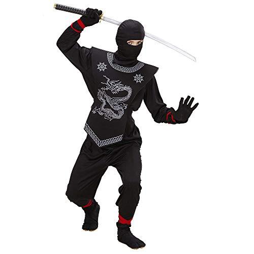 Widmann 74525 - Costume Ninja, per bambini, 116 cm, colore: Nero