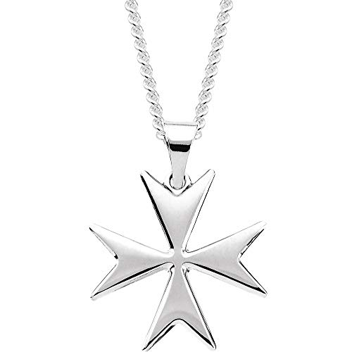 14ct White Gold Maltese Cross Pendant Necklace