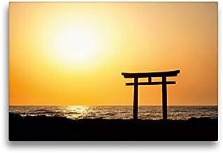 Premium textilduk 45 x 30 cm, japansk toria vid soluppgång | väggbild, bild på kil ram, färdig bild på äkta kanvas, kanvas...