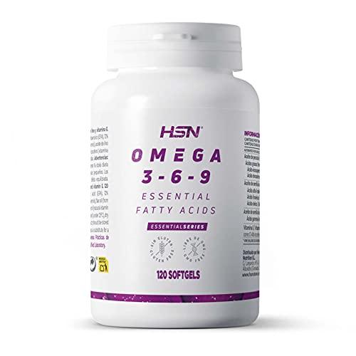 Omega 3 6 9 de HSN | Aceite de Pescado, Onagra y Lino | Ácidos Grasos Esenciales: Linolénico + Linoleico + Oleico | Con Vitamina E, Sin Gluten, Sin Lactosa | 120 Perlas
