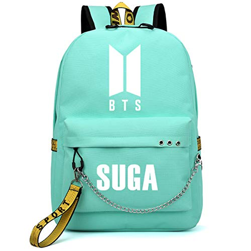 SIMYJOY Unisex Korea-Pop Korea-Pop Backpack Kpop Daypack Laptop Bag College School Bookbag Light Jungkook Jimin suga v bighit Stick with USB Charging Port Korea-Pop Nice Gift Suga Green
