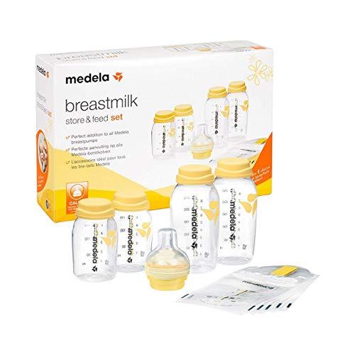 Medela Babyflaschen Set, 4er Set Muttermilchflaschen (2 x 150 ml + 2 x 250 ml), inkl. Calma Sauger und Muttermilchbeutel