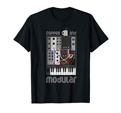 Analog Modular Synthesizer und Kaffee fan T-Shirt