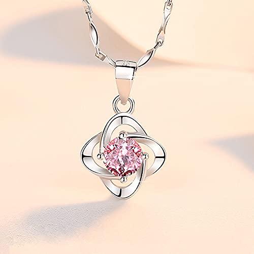 RSHJD Collar de trébol de Lucky para Mujer Chica Diamond Zircon Colgante con joyería delicados Día de Las Madres Regalos,Rosado
