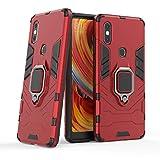 MRSTER Xiaomi Mi Mix 2S Hülle 360 Grad Drehbar Ringhalter Cover TPU Handyhülle 2 In 1 Plastic Silicone Hülle Heavy Duty Schutz Hybrid Stoßfest Schutzhülle für Xiaomi Mi Mix 2S. HB Red