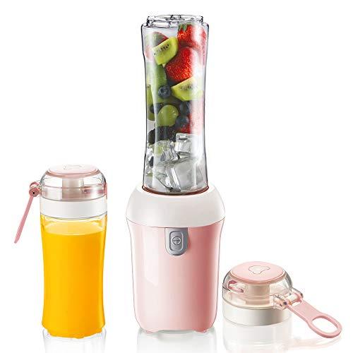ZUEN Multifunktionale Juicer, Portable Mixer 300w Smoothie Maschine mit 2 Flaschen und Edelstahl-Blade Sicherheitsschutz Obst und Gemüseheim-Sport Outdoor Travell