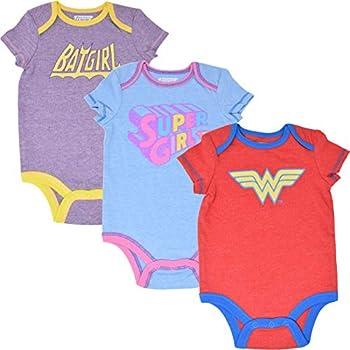 DC Comics Baby Girls 3 Pack Bodysuits  Vintage Wonder Woman Batgirl Supergirl 6-9 Months