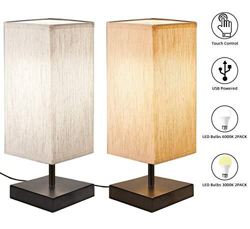 [2 Pack] Nachttischlampe Touch, Bomcosy Nachtlicht Dimmbar, DC5V USB Schnittstelle, Schwarze Nachttischlampe mit Stoffschirm, 4 LED-Lampen, Tischlampe LED für Schlafzimmer, Wohnzimmer, Hotel, Café