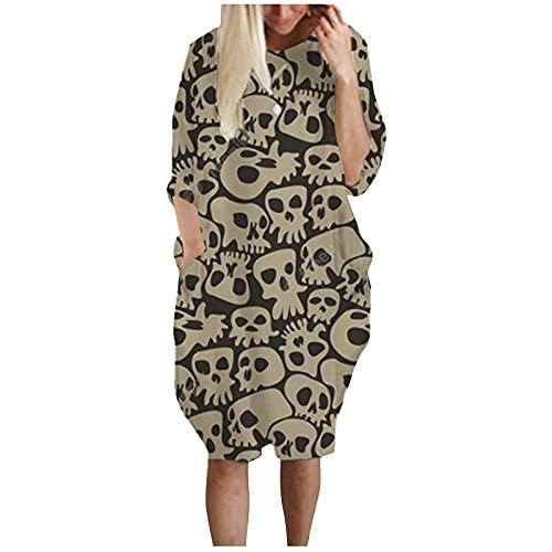 MOKBAY Halloween Kostüm Kinder Langarm Mode Damen Mittellanges Casual Halloween Print Kleid Damen Sexy Costumes for Women Halloween Kleid Damen Set Hoodie Kostüm Alien Halloween Snacks Oberteil