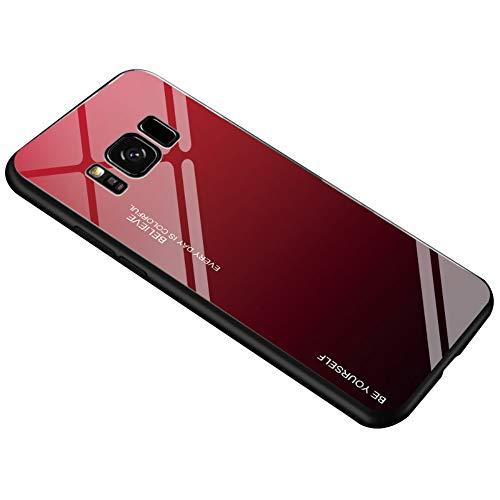 Alsoar Ultra Sottile Custodia per cellulare per Galaxy S8 Custodia Protettiva Gradient 9H Vetro Temperato Cornice in Silicone Morbido Antiurti Antigraffio Vogue Cover Galaxy S8 (Rosso Nero)