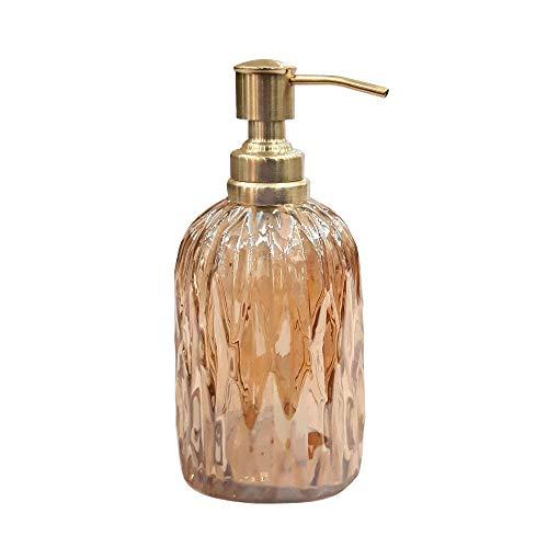 nu steel GLA328C-6 Glacier Collection Glass Finish Trim Refillable Dispenser Pump Bottle for Bathroom Vanity Countertop-Holds Lotion, Liquid Soap, Hand Sanitizer, Amber Gold