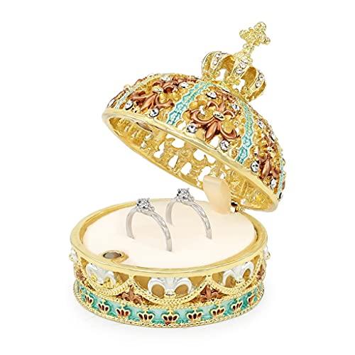 Yousiju Decoración Moda Metal Joyería Caja Collar Colgante Anillo Regalo Cofre (Color : Cyan Gold)