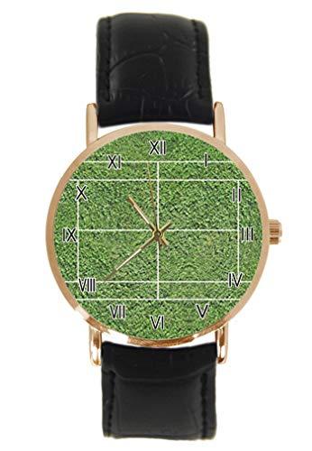 Divertente orologio da polso da tennis alla moda, classico, unisex, analogico, al quarzo, cassa in acciaio inox, cinturino in pelle