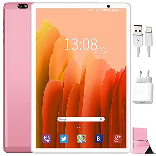 Tablet 10 Pulgadas Android 10, Tablets con 4GB RAM + 64GB ROM/128GB Escalables WiFi Bluetooth GPS 8000mAH, con Ratón Teclado y Cubierta Tablet 10 Pulgadas Baratas y Buenas (Rojo)