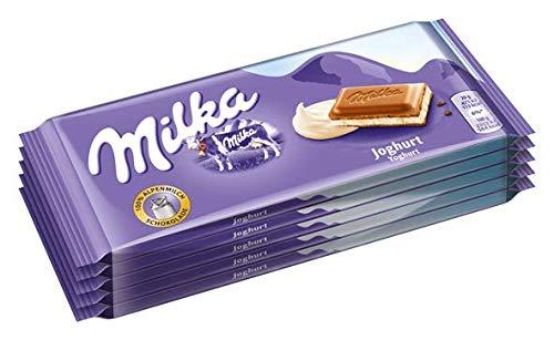 Milka Joghurt - Zartschmelzende Schokoladentafel mit cremiger Joghurt-Füllung - 5 x 100g