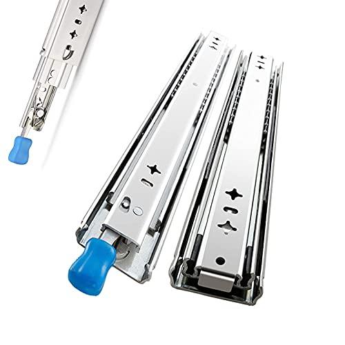 1 par de guías para cajones de alta resistencia, guías para cajones de extensión completa con bloqueo, capacidad de carga de 120 kg, guía para cajones, guía para cajones, tornillos de mont