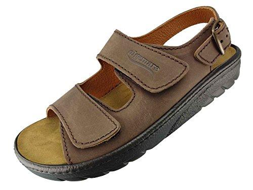 Algemare Herren Sandalette Sansibar Nubukleder Algen-Kork Wechselfußbett waschbar 7618_3261 Trekking Sandale Fußbettpantolette, Größe:43 EU